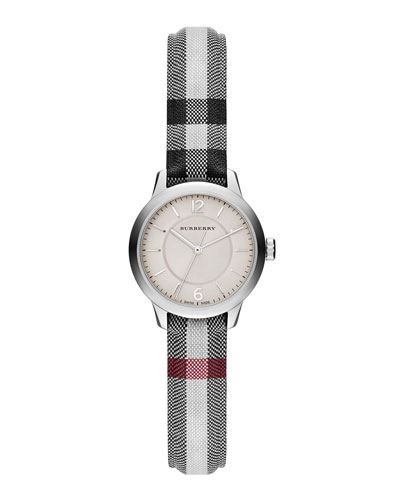 26mm Round Stainless Watch with Check Strap