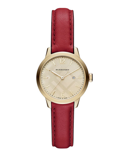 32mm Round Check Watch with Leather Strap, Red
