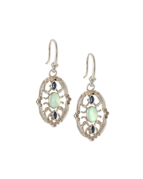 Armenta Chrysoprase Petite Pointed Oval Earrings