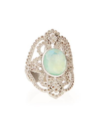 New World Chrysoprase Diamond Scroll Ring