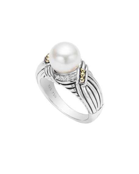 Luna Diamond & Pearl Twist Small Ring