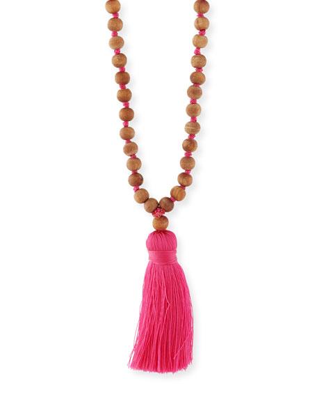 Lead Sandalwood Beaded Tassel Necklace, Pink