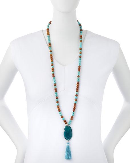 Lead Turquoise & Sandalwood Tassel Necklace