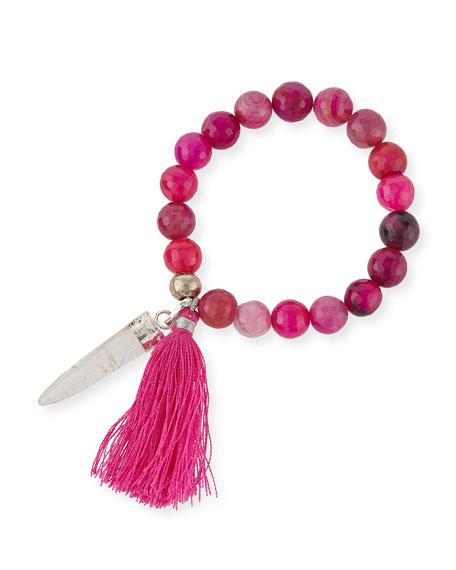 Lead Fuchsia Agate Beaded Tassel Bracelet