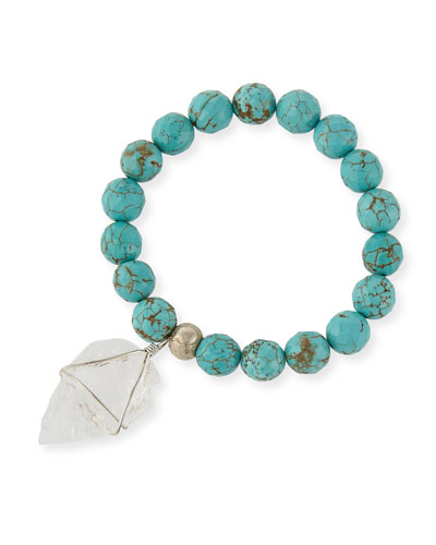 Turquoise-Hued Howlite Beaded Arrowhead Bracelet