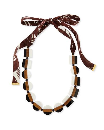 Colorblock Beaded Tie Necklace