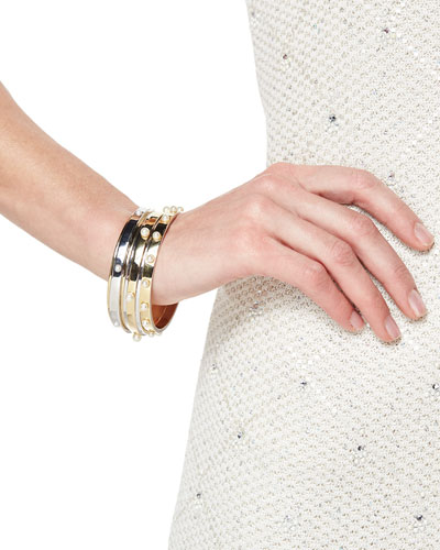 Golden Bangle with Pearly Studs
