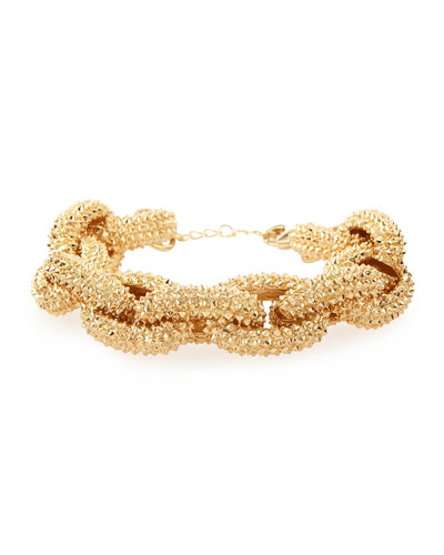 Textured Golden Link Bracelet