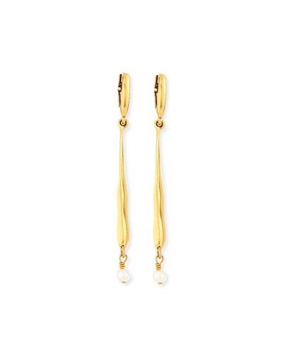Linear Glass-Pearl Drop Earrings