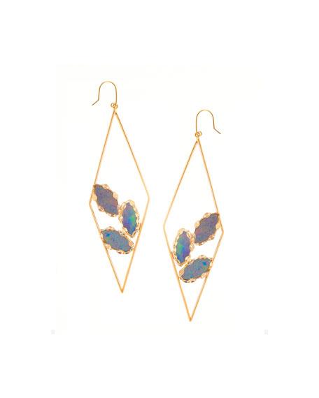 Lana Prix Diamond-Shape Opal Hoop Earrings
