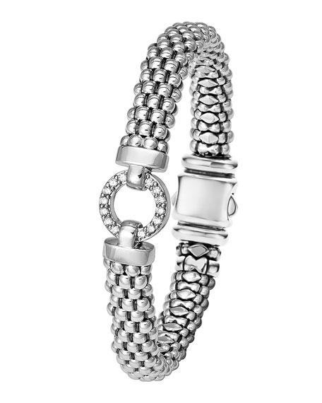 Enso Diamond Caviar Rope Bracelet, 9mm