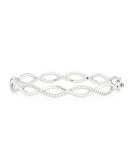 Infinity One-Row Diamond Bangle, White Gold