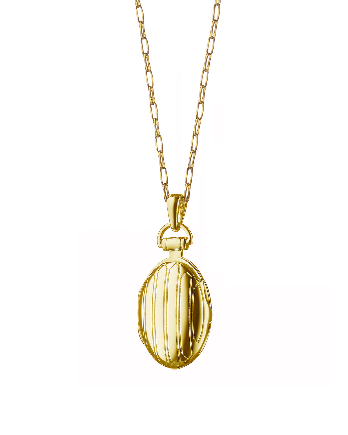 Monica Rich Kosann 18k Gold Petite Pinstripe Locket, 30L