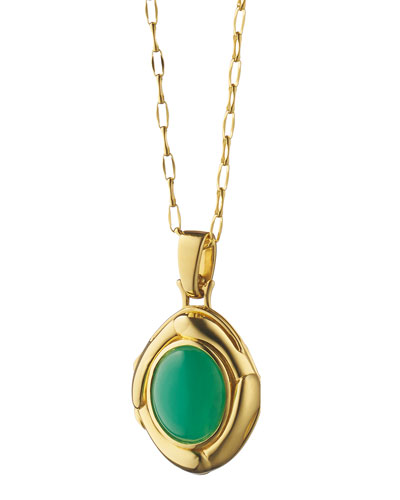 Petite 18k Gold Chrysoprase Locket Necklace