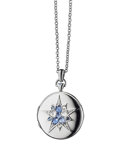 Round Silver Burst Locket with Sapphires & Crystal, 30""