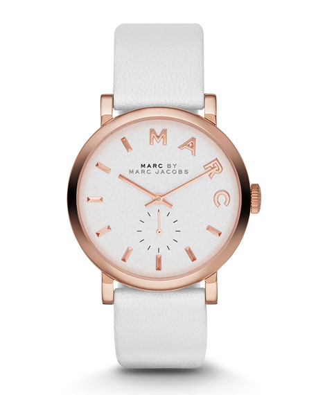 36mm Baker Rose Golden Leather-Strap Watch, White
