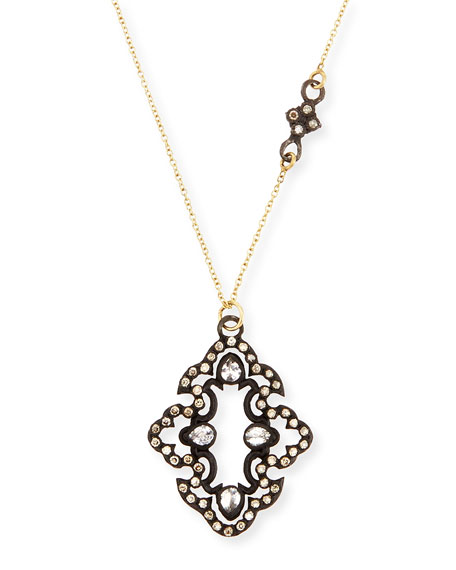 Armenta Champagne Diamond Scroll Pendant Necklace