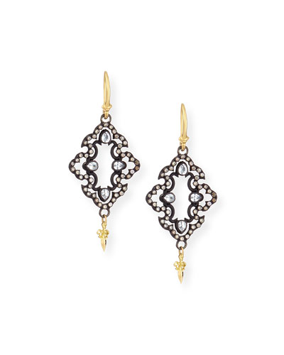 Armenta Open Scroll Diamond Drop Earrings