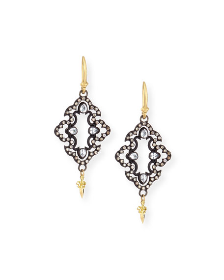 ARMENTA 18K Yellow Gold And Blackened Sterling Silver Old World Champagne Diamond And White Sapphire Scroll  in Champagne/ Black