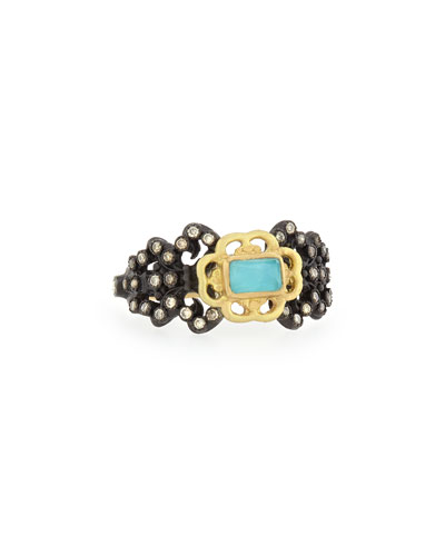 Old World Fleur de Lis Blue Turquoise Ring