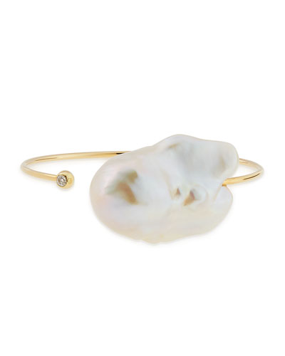 14k Yellow Gold & Pearl Cuff, Medium