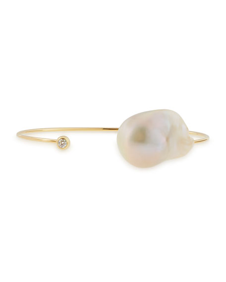 Mizuki 14k Yellow Gold, Pearl & Diamond Cuff,