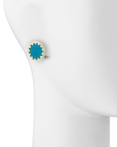 Sunburst Button Earrings, Teal
