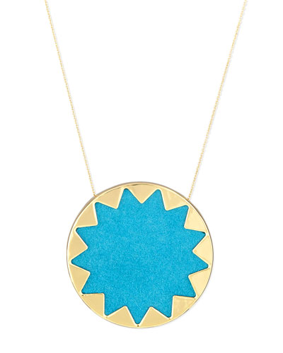 Sunburst Pendant Necklace, Teal