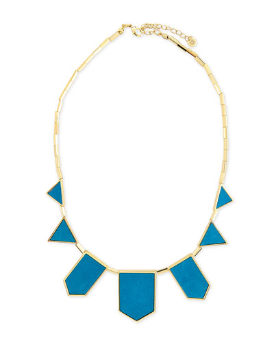 Five-Station Suede Necklace, Teal