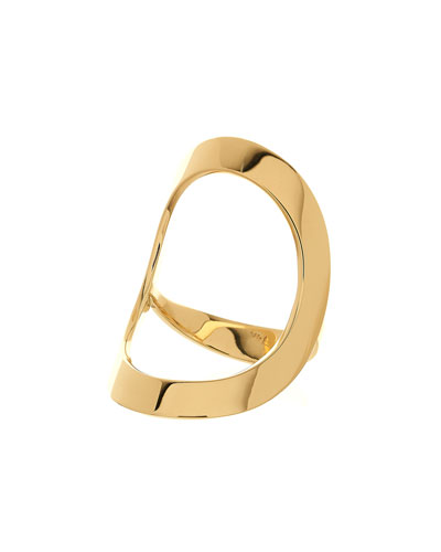 Glam 14k Gold Open Circle Ring, Size 7