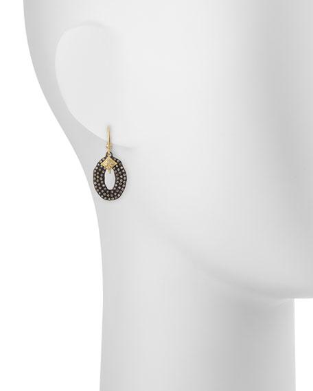 Midnight Oval Drop Earrings with Diamonds