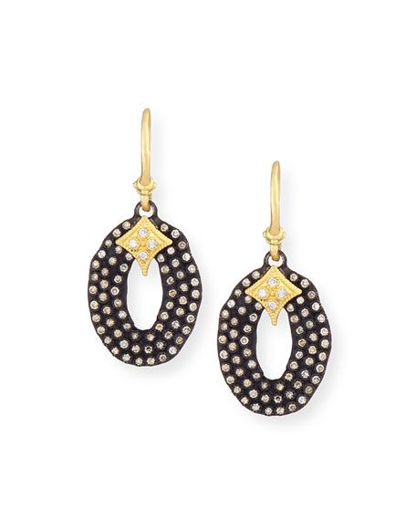 Midnight Oval Drop Earrings with Diamonds
