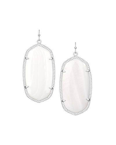 Danielle Rhodium Earrings, Mother-of-Pearl Color