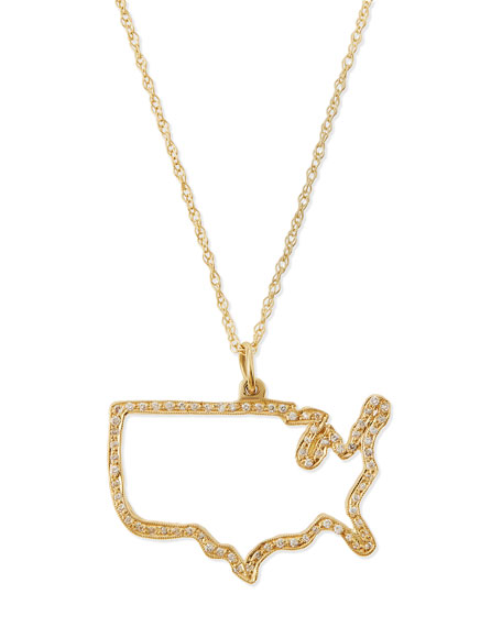 Pave Diamond USA Necklace