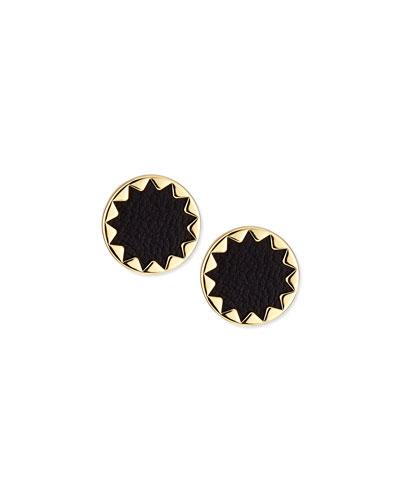 Sunburst Leather Stud Earrings