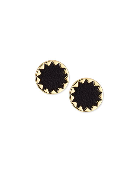 Sunburst Leather Stud Earrings