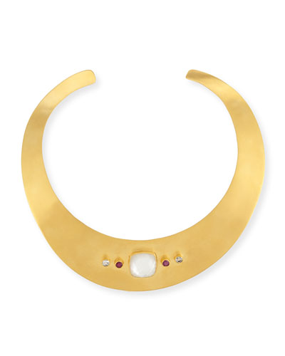 "Multi-Stone Collar Necklace, 17""L"