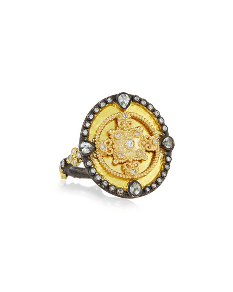 18K Yellow Gold & Blackened Sterling Silver Old World Diamond & White Sapphire Heraldry Ring