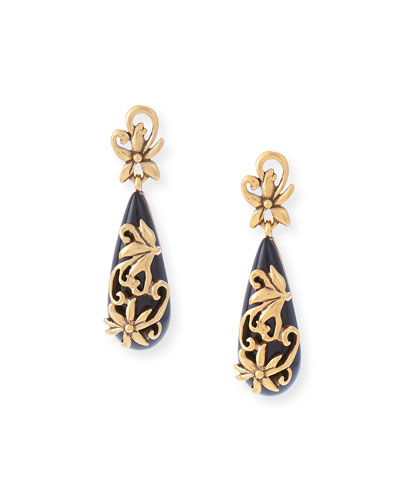 Filigree Drop Earrings, Black