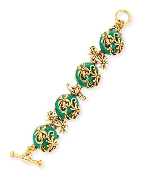 Oscar de la Renta Resin Filigree Bracelet, Green