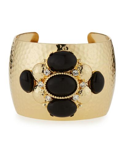Crystal & Cabochon Cuff Bracelet, Black