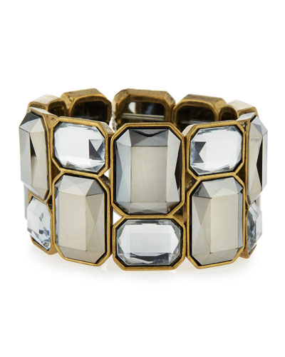 Wide Crystal Stretch Bracelet