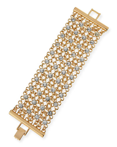 Golden Crystal Mesh Bracelet