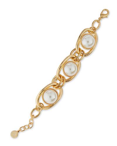 Pearly Golden Link Bracelet