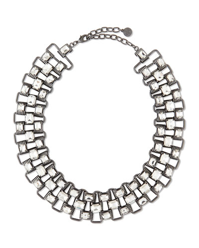 Crystal & Chain Collar Necklace, Hematite