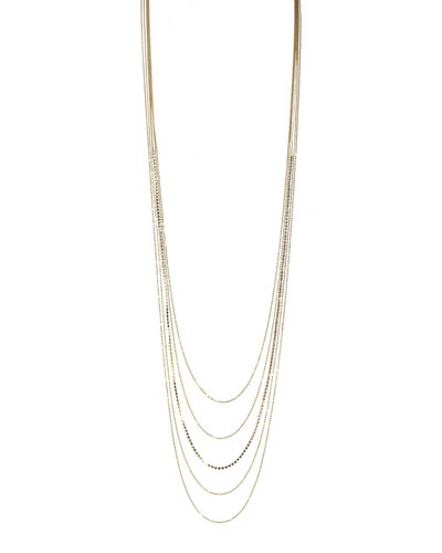 Layered Chain & Cubic Zirconia Necklace, 48