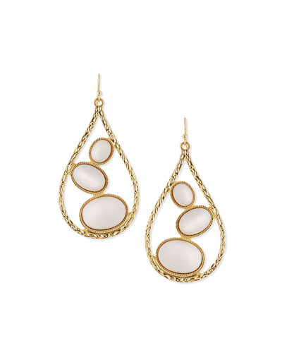 Teardrop Earrings with White Cabochons