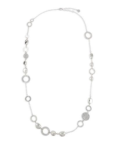 Silvertone Crystal Disc Necklace