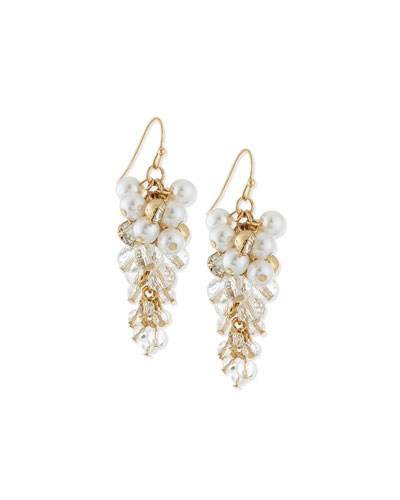 Pearly Bead & Crystal Drop Earrings