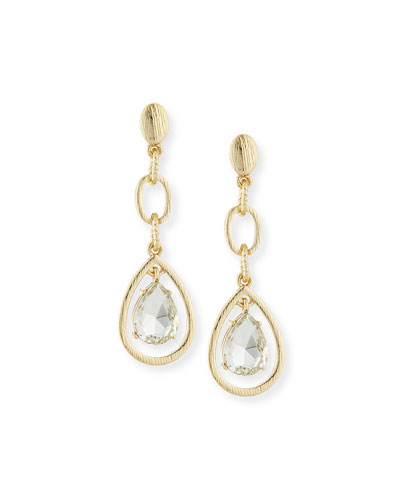 Linear Crystal Teardrop Earrings